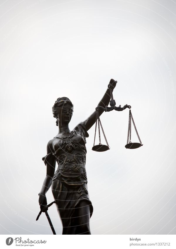 legal department Feminine Sculpture Sky Clouds Scale Figure To hold on Esthetic Elegant Thin Eroticism Gray Fairness Inequity Politics and state Lady Justice