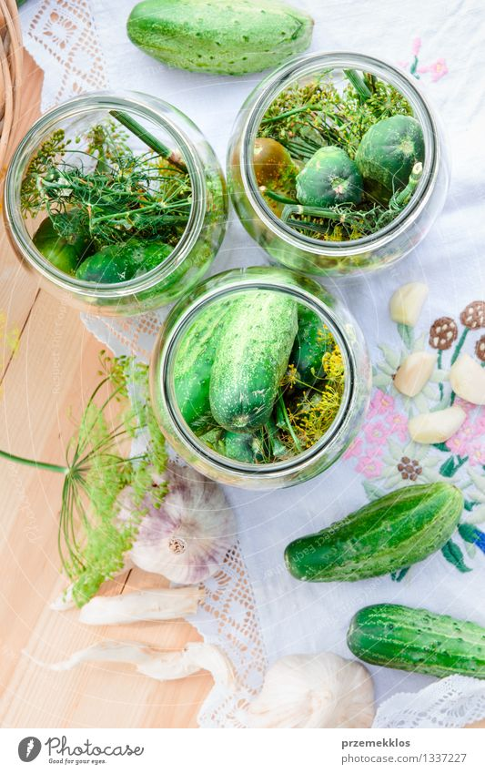 Pickling cucumbers with home garden vegetables and herbs Green Summer Natural Garden Food Fresh Herbs and spices Vegetable Organic produce Vertical Basket