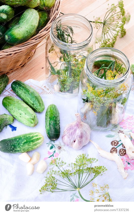 Pickling cucumbers with home garden vegetables and herbs Vegetable Herbs and spices Organic produce Garden Summer Fresh Natural Green Basket Dill food Garlic