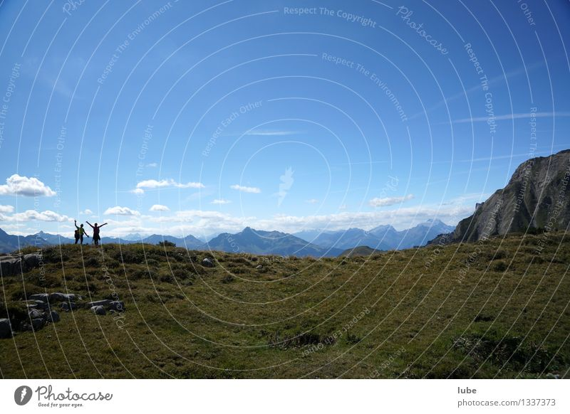 Human being Sky Nature Blue Summer Landscape Far-off places Mountain Environment Rock Horizon Hiking Climate Beautiful weather Alps Wave