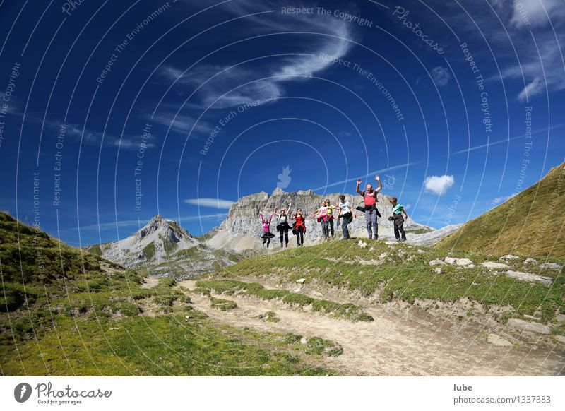 jumping hill Vacation & Travel Tourism Trip Adventure Far-off places Freedom Summer Summer vacation Mountain Hiking Environment Nature Landscape Sky Climate