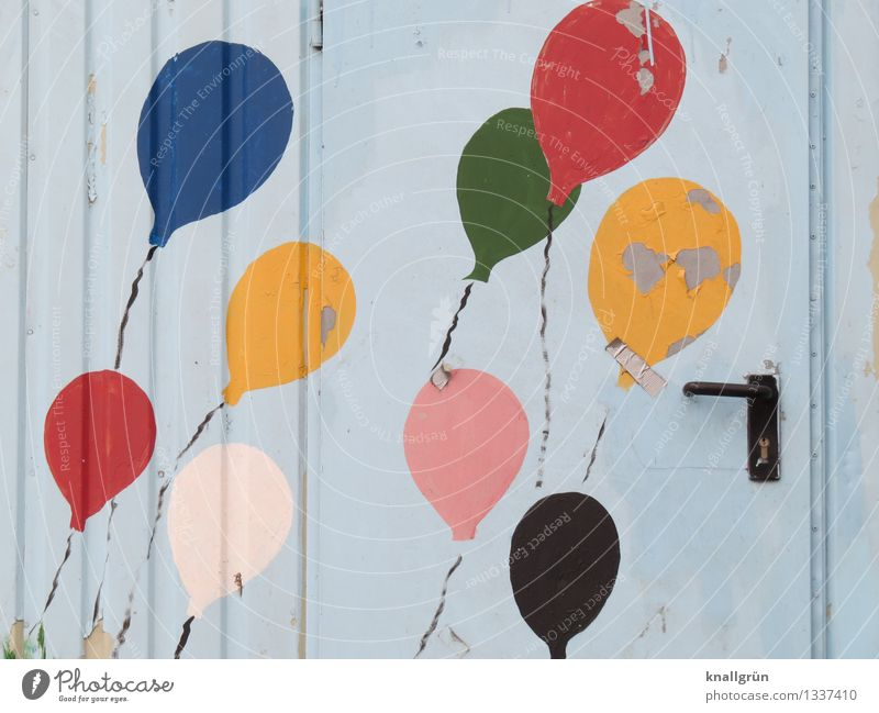 9 balloons + 1 adhesive plaster Door Balloon Door handle Graffiti Flying Happiness Together Uniqueness Round Multicoloured Emotions Moody Joy Colour Creativity