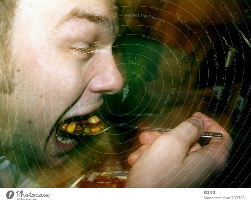 Man Eating Mouth Nutrition Pure Appetite Dinner To feed Meat Meal Feeding Spoon Fast food Cutlery Vegetable Soup