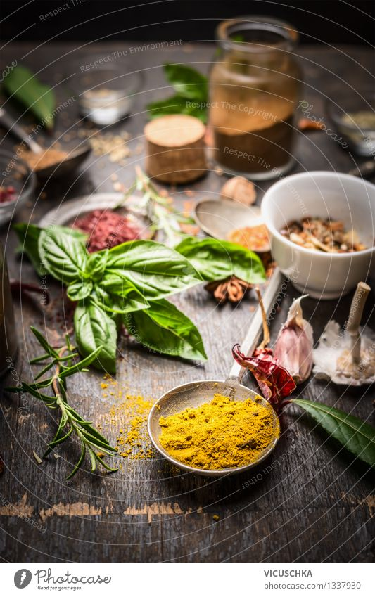 Oriental spices and herbs Food Herbs and spices Slow food Bowl Bottle Spoon Style Design Healthy Eating Life Table Kitchen Restaurant Nature Yellow Fragrance