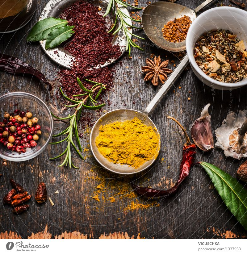 Curry powder in measuring spoons and other utensils Food Herbs and spices Nutrition Organic produce Vegetarian diet Diet Plate Bowl Spoon Style Design
