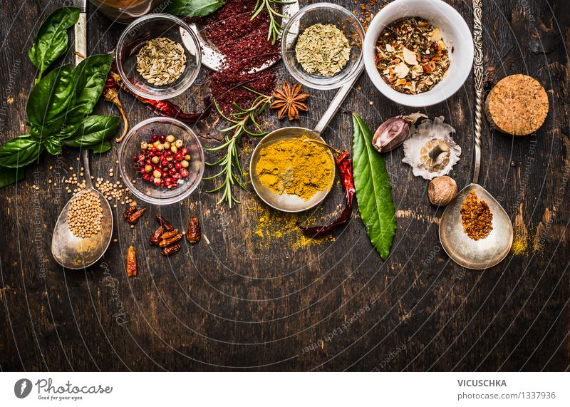 Colourful spices and herbs selection for cooking Food Herbs and spices Nutrition Organic produce Vegetarian diet Diet Slow food Plate Bowl Spoon Style Design