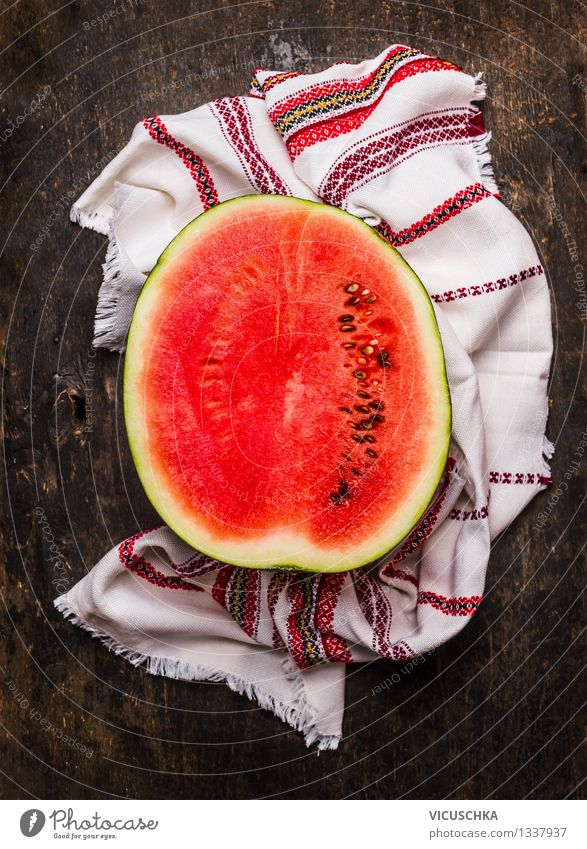 Half of the watermelon Food Fruit Dessert Nutrition Organic produce Vegetarian diet Diet Style Healthy Eating Life Table Kitchen Design Vitamin Water melon