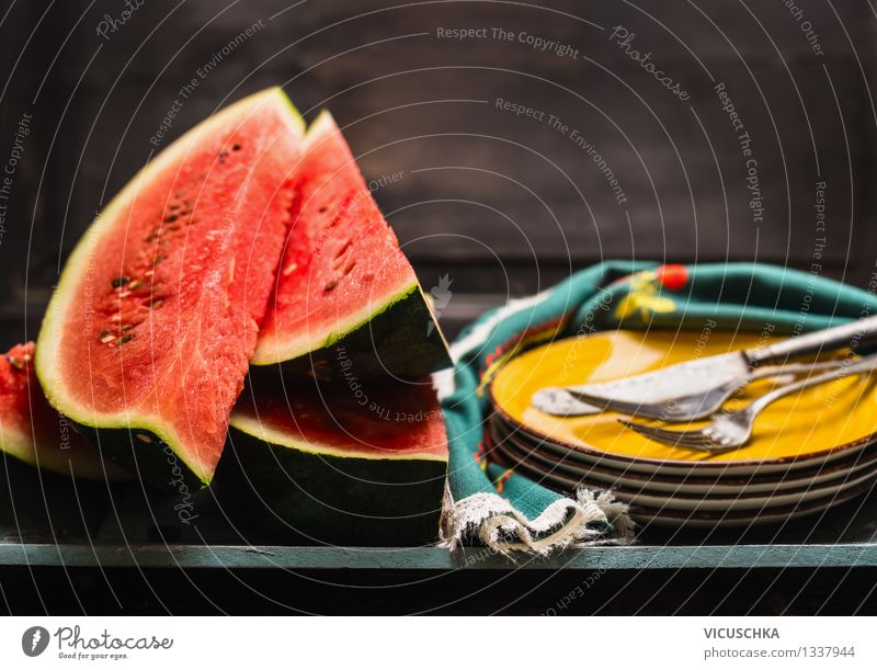 Watermelon season in the kitchen Food Fruit Dessert Nutrition Organic produce Diet Crockery Plate Cutlery Knives Fork Style Design Healthy Eating Life Summer