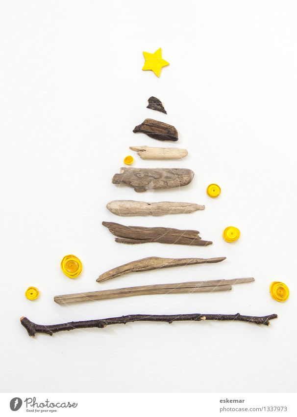 Christmas & Advent Beautiful White Tree Yellow Wood Feasts & Celebrations Brown Bright Contentment Authentic Happiness Esthetic Creativity Simple Star (Symbol)
