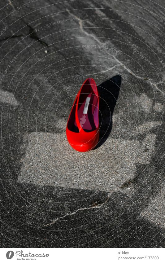 Red Summer Loneliness Street Gray Lanes & trails Fashion Footwear Clothing Asphalt Middle Square Crack & Rip & Tear Doomed Sharp-edged Ballet shoe