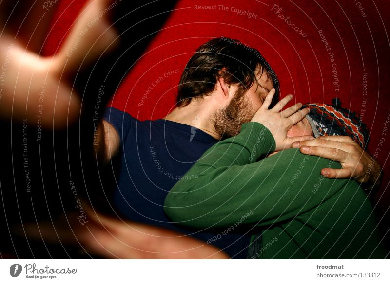 Woman Man Youth (Young adults) Blue Hand Green Beautiful Red Joy Face Adults Love Emotions Happy Warmth Couple