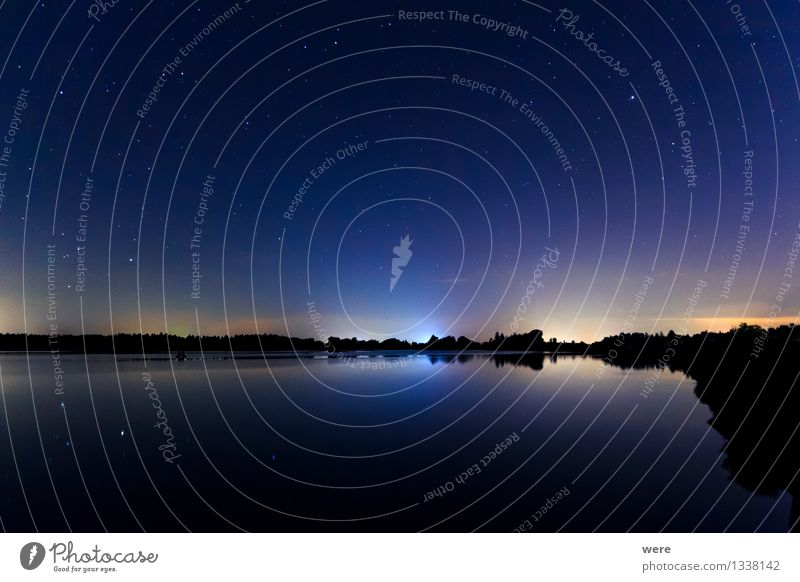 Starry sky over the lake Landscape Sky Night sky Stars Lakeside Observatory Gigantic Glittering Large Infinity Romance Constellation Meteor clearer in the sky