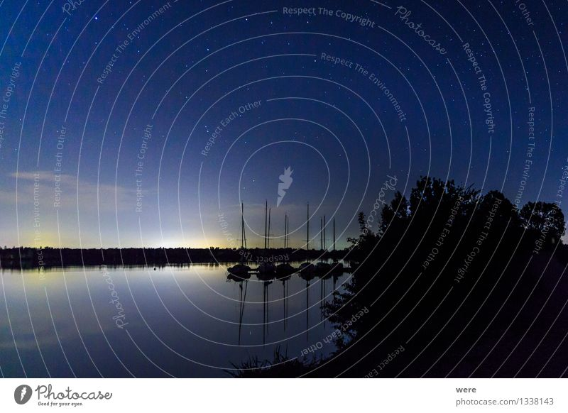 Sky Nature Landscape Loneliness Calm Environment Stars Sleep Protection Lakeside Longing Wanderlust Safety (feeling of) Night sky Astronaut Meteor