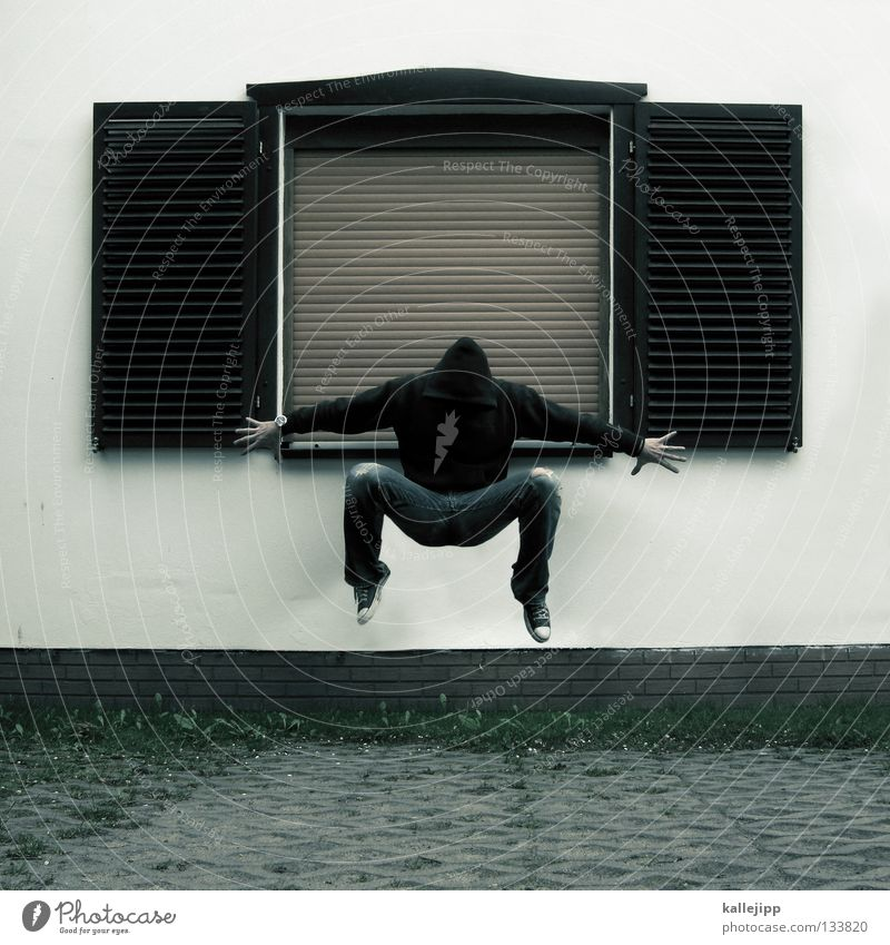 Human being Man House (Residential Structure) Wall (building) Death Window Legs Arm Flat (apartment) Flying Concrete Sleep Middle Sweater Parking lot Hover