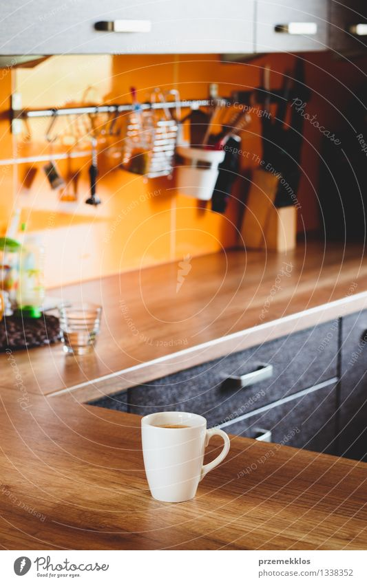 Morning cup of coffee on a table Coffee Cup Mug Furniture Table Kitchen Hot White board drink inside wood vertical Colour photo Interior shot Copy Space top Day