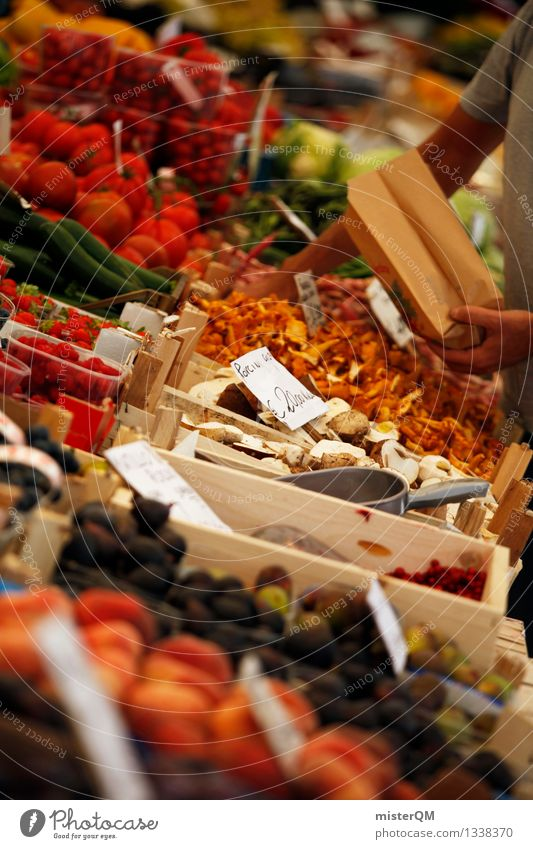 Weekly market I Art Esthetic Contentment Marketplace Offer Shopping Many Multilateral Fruit Versatile Trade Market day Mushroom Colour photo Subdued colour