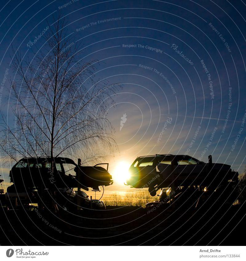 Old Tree Sun Clouds Car Dirty Industry Broken Trash Derelict Rust Still Life Iron Environmental pollution Tin Motor vehicle