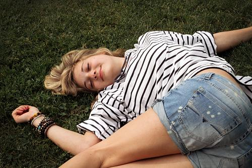 ...enjoy Feminine Young woman Youth (Young adults) Body Nature spring Summer Grass luck Contentment Joie de vivre (Vitality) Spring fever To enjoy Sunbathing