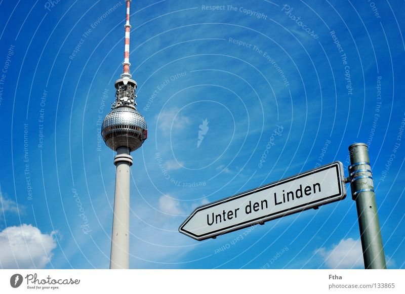 Berlin Vantage point Tower Berlin TV Tower Capital city Signs and labeling Street sign Lime tree Transmitting station