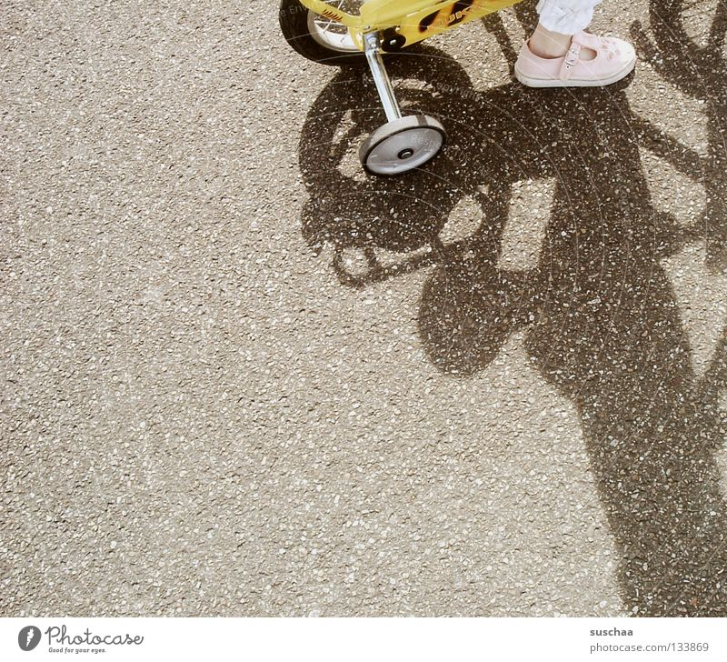 Child Girl Joy Yellow Street Small Feet Bicycle Driving Asphalt Toddler Traffic infrastructure