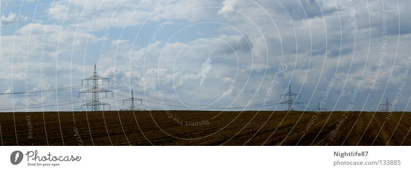 current culture Electricity Field Electricity pylon Clouds Brown Agriculture Culture Ecological Renewable energy Infinity Industry Services Landscape Cable Sky