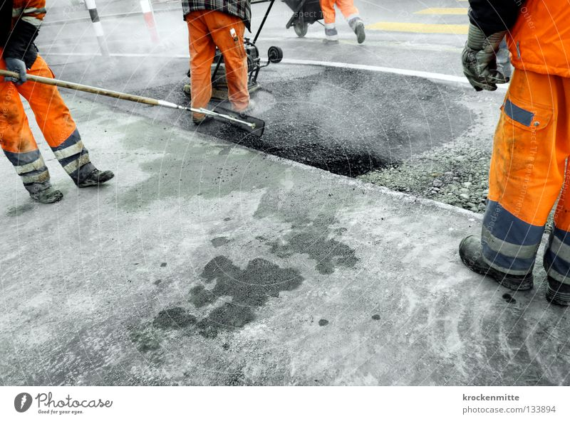 Man Street Work and employment Gray Footwear Orange Asphalt Hot Smoke Traffic infrastructure Working man Tar Workwear Road construction