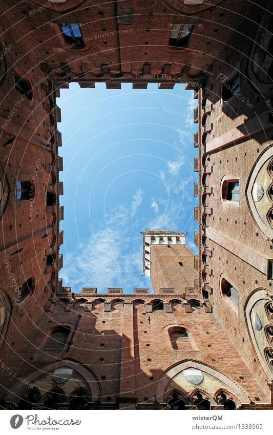 Siena's heaven. Art Esthetic Italy Sky Historic Buildings Tuscany South Mediterranean City trip Tower Brick red Colour photo Exterior shot Experimental Abstract