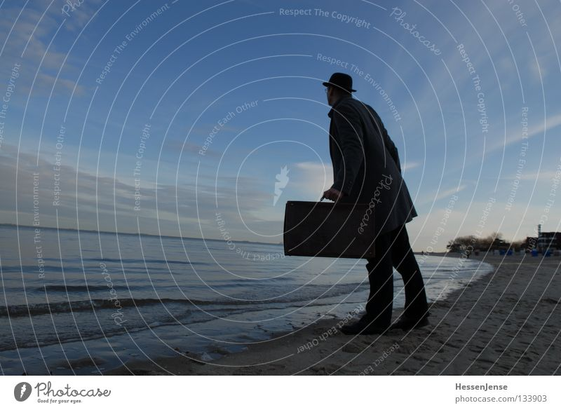 Person 37 Hope Suitcase Coat Ocean Lake Waves Beach Search Concentrate Moral Man Sky Mafia Looking Blue