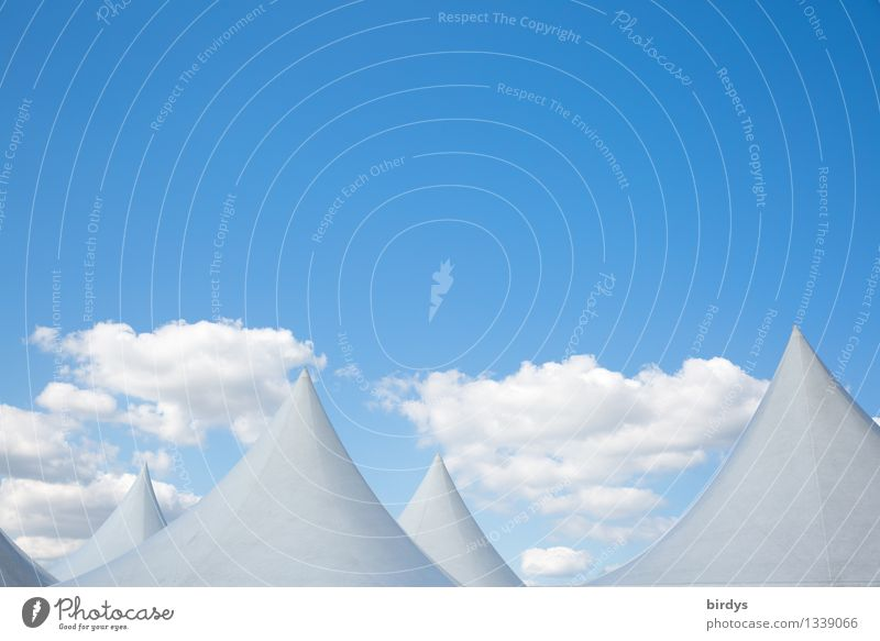 tip world Sky only Clouds Beautiful weather Tent Roof Point Conical Esthetic Exceptional Fantastic Positive Blue White Bizarre Uniqueness Horizon Surrealism