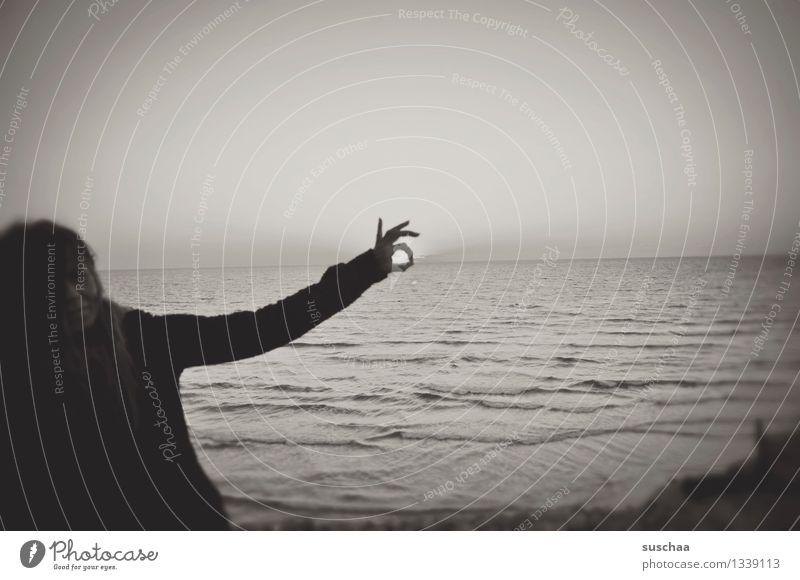 Human being Woman Water Ocean Hand Fingers