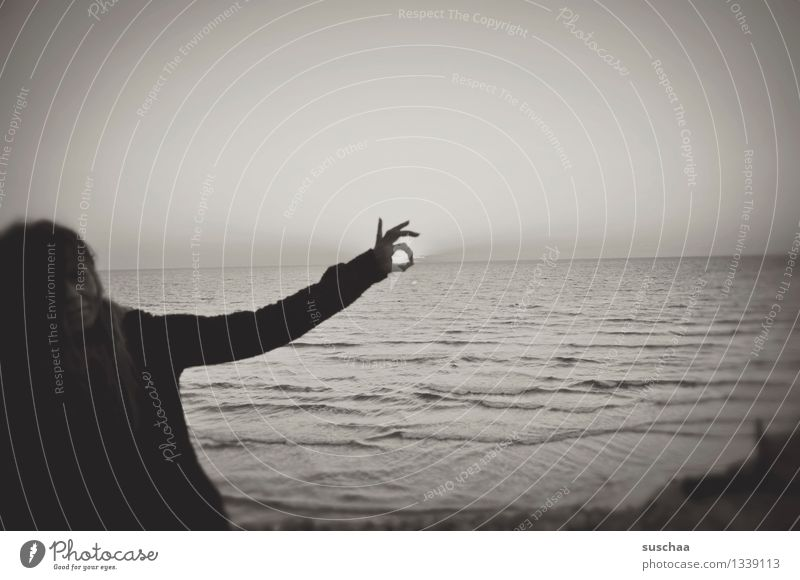 sunset with a difference Woman Human being Silhouette Black & white photo Ocean Water Sunset Hand Fingers