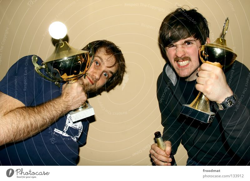 cup matadors Cup (trophy) Success Beer Party Pornography Facial hair Playing Moustache Youth (Young adults) Ambitious Trophy Unshaven Rich Strong Might
