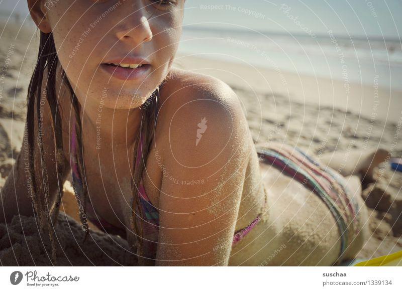 Child Vacation & Travel Water Relaxation Ocean Girl Beach Face Warmth Sand Lie Skin Sunbathing Bikini