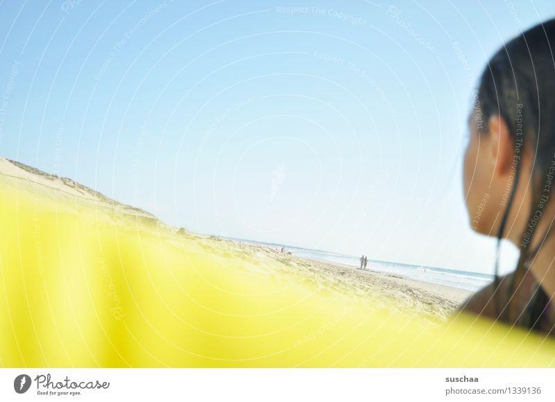 Child Sky Vacation & Travel Summer Sun Relaxation Ocean Girl Beach Yellow Swimming & Bathing Head Dune Atlantic Ocean Air mattress