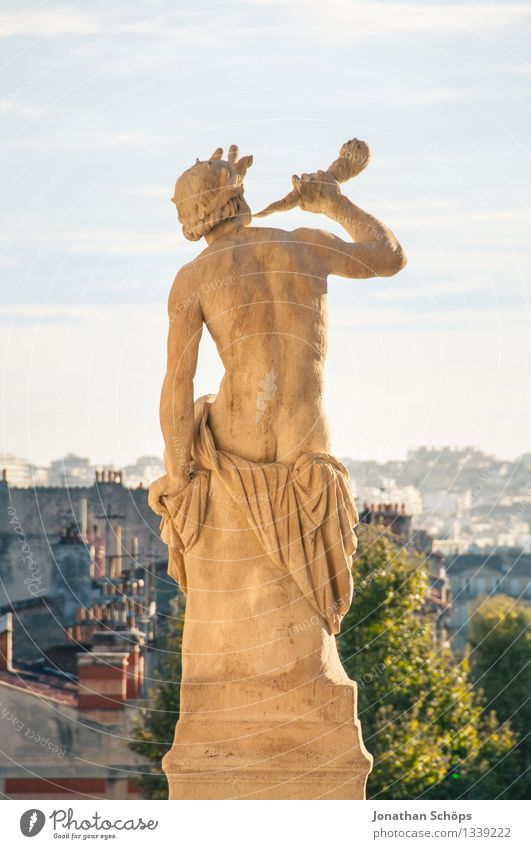 Man Naked Summer Town Male nude Tree Travel photography Tourism Esthetic Success Beautiful weather Historic France Summer vacation Old town Statue