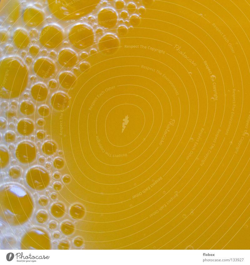 Blubber bubbles. Orange juice Juice Vitamin C Citrus fruits Yellow Foam Juice glass Beverage Concentrate Fluid Sweet Delicious Fruity Fruit flesh 100 Stamen