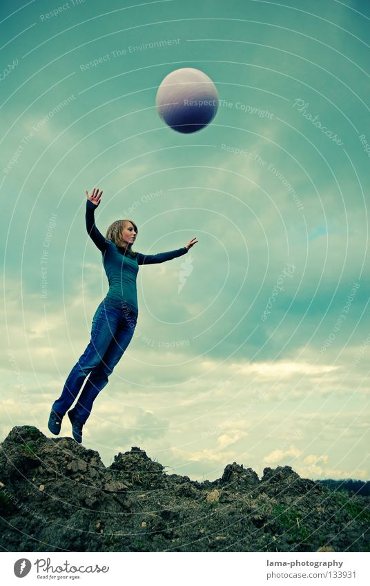 Woman Sky Nature Sun Summer Joy Clouds Colour Playing Mountain Jump Air Earth Going Flying Walking