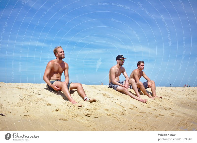 3 guys on the beach Summer Summer vacation Sun Sunbathing Beach Masculine Friendship Human being 18 - 30 years Youth (Young adults) Adults Beautiful weather