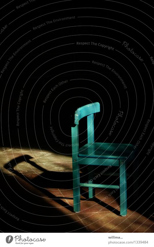 the empty chair Chair Small Turquoise Shadow Shadow play Dark side unmanned Fill Free Colour photo Deserted Copy Space top