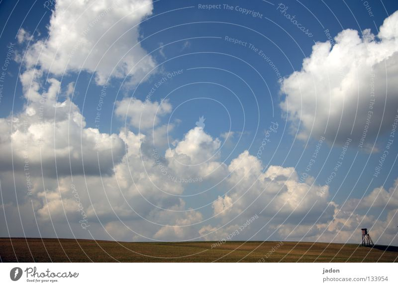 Sky Blue White Clouds Calm Loneliness Far-off places Meadow Landscape Jump Spring Dream Horizon Room Field Background picture