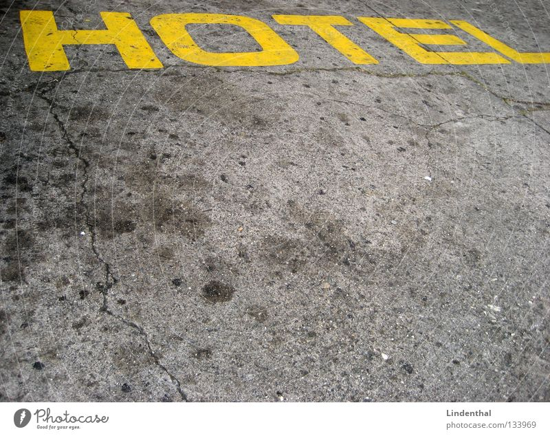 HOTEL Hotel Yellow Sleep Tar Letters (alphabet) Characters Street uppercase