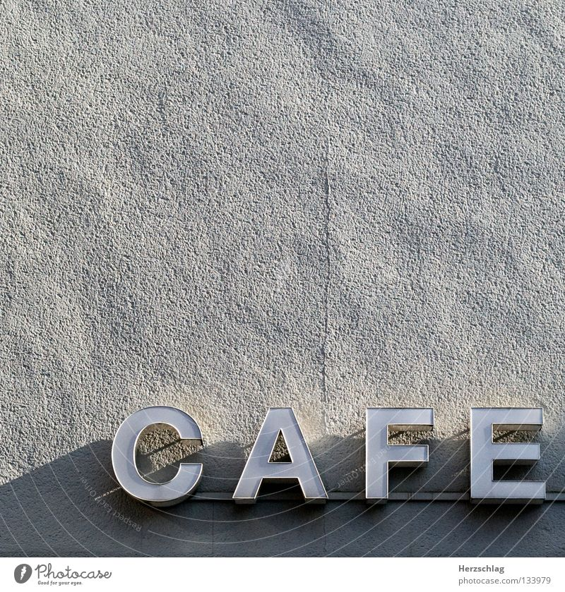 In the cafe, drinking coffee Café Beans Drinking Letters (alphabet) Wall (building) Signs and labeling Facade Plaster Characters Aromatic To enjoy E