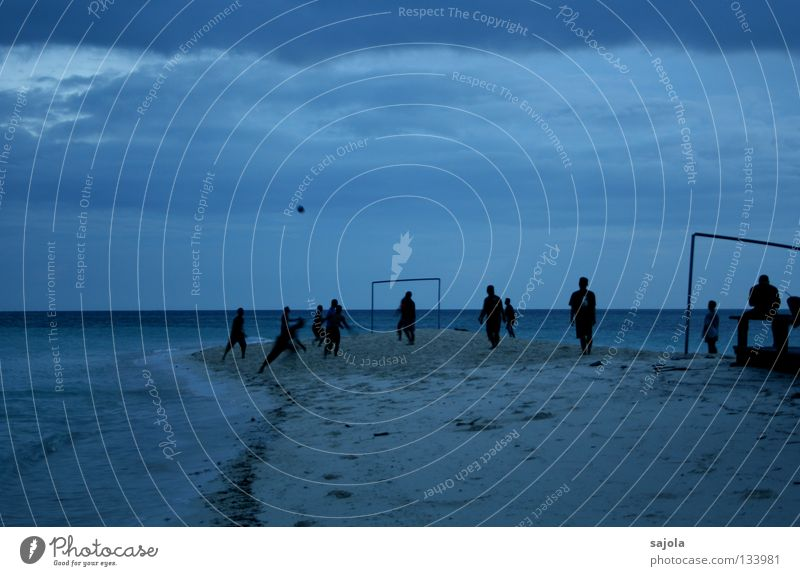 Practice for the EM? Playing Freedom Beach Ocean Sports Sports team Soccer Foot ball Ball Closing time Human being Man Adults Water Sky Clouds Horizon Movement