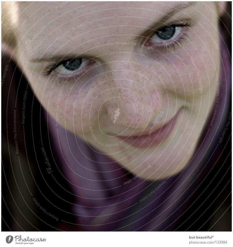 Woman Joy Eyes Soft Freckles Scarf Lovely Banal