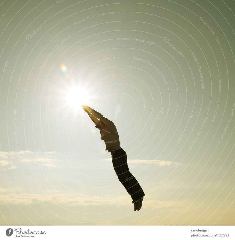 Human being Man Youth (Young adults) Sky Sun Joy Clouds Life Jump Above Movement Freedom Air Adults Arm