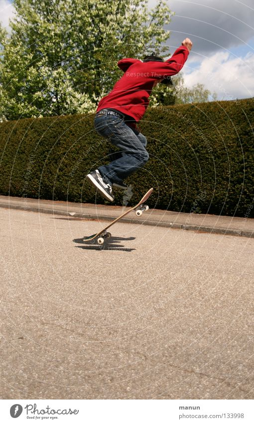 Child Youth (Young adults) Red Joy Black Street Sports Boy (child) Jump Playing Movement Leisure and hobbies Asphalt Fitness Skateboarding Athletic