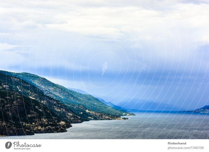 Water Clouds Far-off places Mountain Lake Horizon Dream Canada Fantasy North America British Columbia Okanagan lake