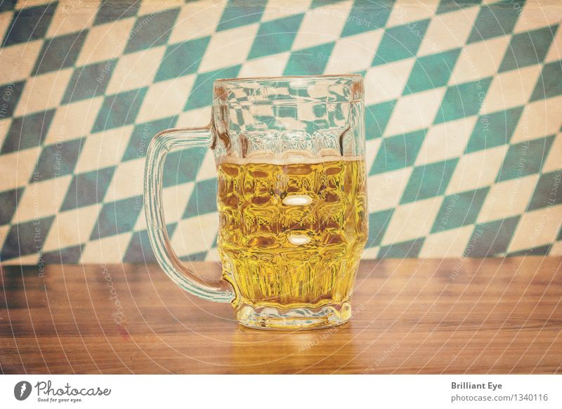 Retro Oktoberfest Beverage Cold drink Alcoholic drinks Beer Design Summer Wood Glass Yellow Tourism Tradition Germany Pub Munich Beer mug Pattern Bavaria