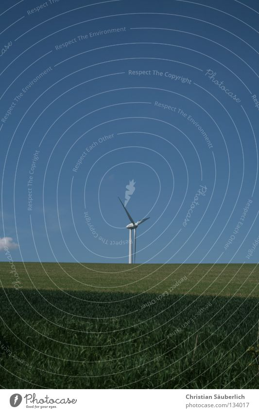 clean energy II Wind energy plant Electricity Ecological Renewable energy Eco-friendly Wind speed Future Clouds Meadow Field Twin Tough guy Green White Grass