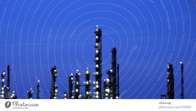 Sky Blue Black Dark Warmth Line Metal Environment Tall Industry Energy industry Electricity Growth Level Factory Tower